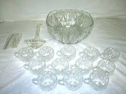 glass punch bowl set anchor hocking star of pressed with stand and