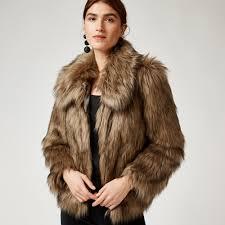 warehouse short faux fur coat brown 1