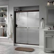 everly 60 in x 70 in semi frameless traditional sliding shower door in
