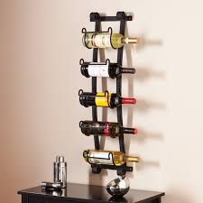 black-wall-mounted-wine-racks-with-black-nightstand-