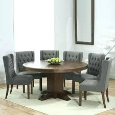 dark solid oak round dining table with 6 grey chairs kitchen seats chiltern 150cm and s