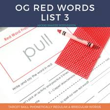 Word In Red Orton Gillingham Red Words List 3 By Smarter Intervention Tpt
