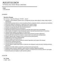 Operations Manager Resume Sample Velvet Jobs Warehouse One C Sevte