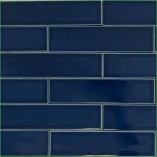 impressive navy blue subway tile backsplash unique glass