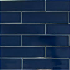 impressive navy blue subway tile backsplash unique glass