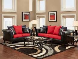 ... Classyed Living Space Ideas Black Leather Sofa Set Fur Modernug Metal  Chrome Table Brown Wooden Laminate Red Living Room ...