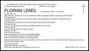 Traueranzeige Von Florian Lendl Vom 11072012