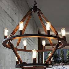 loft hanging lights vintage rope light double layers iron hanging lamp manmade fixtures industrial style hotel pub decoration ceiling lamp shade dining room