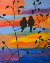 girls night out spi and paint painting love birds