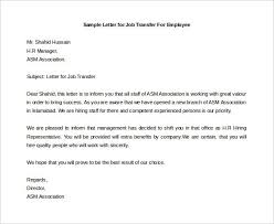 Sample Letter for Job Transfer For Employee Free Download