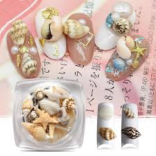 1 box natural nail art 3d decoration mini conch s starfish sea beach ornaments diy manicure nail art decor beauty accessory nails design nails designs