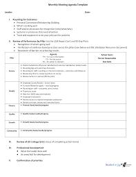 Monthly Meeting Agenda Templates At Allbusinesstemplates