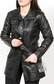 womens 3 4 length black leather coat jacket sophie closed