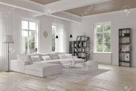 White Decor Living Room Modern Loft Living Room Interior With Monochromatic White Decor