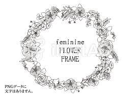 おしゃれな手書き風の花のリース風フレームイラスト No 1411089無料