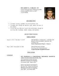 RESUME - REGISTERED NURSE. HILARIO L. CABAEL III Isulan, Sultan Kudarat,  Philippines 9805 princeyong369@yahoo.