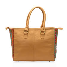 spring break doorbuster santa fe collection camel genuine leather tote bag with aztec printed fabric sides