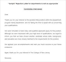 reject letter template free 7 sample printable job rejection letter templates download