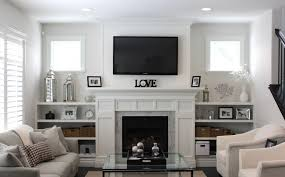 traditional living room ideas with fireplace and tv small family room for rest white fabric sofa