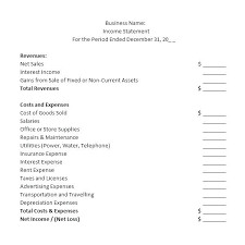 blank income statement small business income statement template income statement example