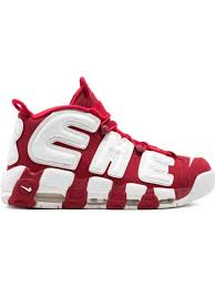 Shop <b>red &</b> white <b>Supreme</b> x Nike Air More Uptempo sneakers with ...