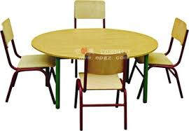 wooden furniture high quality MDF round table and chairs for nursery