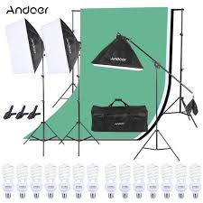 andoer photo studio lighting kit softbox bulb bulb socket light stand cantilever