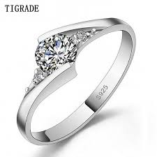 TIGEADE <b>Jewelry</b> Real 100% 925 Silver <b>Ring</b> 0.5 Carat 5A Zircon cz ...