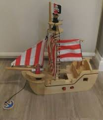 wooden pirate ship boat toy for age 3 years