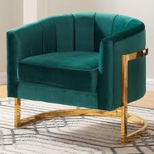 velvet accent chair. Meridian Furniture 515Green Carter Green Velvet Accent Chair On Gold Stainless Base W/ Round Back S