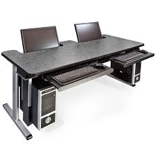 laptop computer table with 205 series offset legs and fold down modesty panel