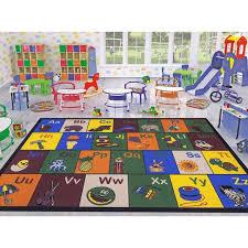 ottomanson jenny collection children s multi color educational alphabet non slip kids classroom area rugs 3 3 x 5 0 multicolored ottomanson