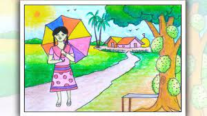 How to draw summer season scenery   Village scenery drawing easy   Easy  drawings, Art drawings for kids, Poster drawing