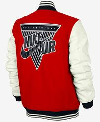 the jacket is designed with a classic letterman profile genuine leather sleeves and plush insulation now available at nike retail 550