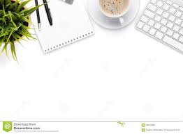 Top office table cup Notepad Computer Office Desk Table With Computer Supplies Coffee Cup And Flower Isolated On White Background Top View With Copy Space Dreamstimecom Office Desk Table With Computer Supplies Coffee Cup And Flower