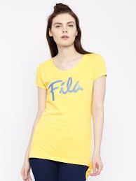 fila yellow t shirt. buy fila women grey melange printed t shirt - tshirts for | myntra fila yellow
