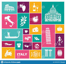 Traditional Symbols Traditional Symbols Of Italy Flat Vector Icons Stock Vector