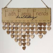 diy wooden faith family and friends birthday calendar reminder board gray