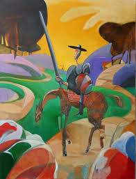 don quixote encounters pilgrims upon the road 48x36 oil on canvas 2016 sold