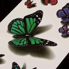 Other Tattoos Body Art 2pcs 3d Vivid Butterfly Flying Design