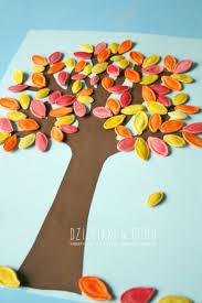 Pumpkin seed fall tree craft for kids / Jesienne drzewko z pestek dyni -  praca plastyczna