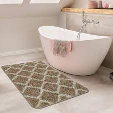 Badezimmer Teppich Rauten Design Beige Teppichde