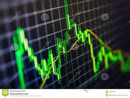 Chart Screen Display Of Stock Market Quotes Chart Graph On Monitor Live