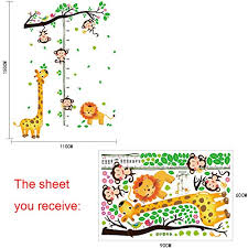 Monkey Growth Chart Wall Wmdecal Removable Giraffe Lion Monkey Branches Heigth