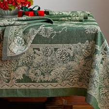 2012 Winter Pinecone Jacquard Tablecloth from William Sonoma. Not Teflon  coated. Woodland ChristmasGreen ...