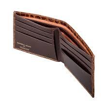 luxury italian leather bifold wallet in crocodile pattern