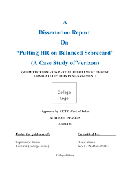 dissertation report on putting hr on balanced scorecard a case study a dissertation report on ldquoputting hr on balanced scorecardrdquo a case study of