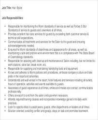 Hairstylist Job Description Beauteous 44 Hairstylist Job Description Samples Sample Templates
