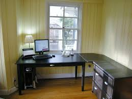 l desk office. Ikea Home Office Desk. Wood Flooring And L Shaped Desk Also Single Hang Window