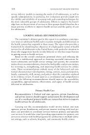 overall conclusions and recommendations adolescent health page 304